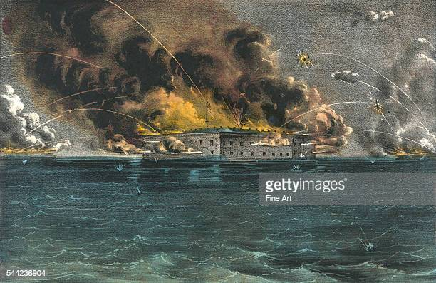 Bombardment of Fort Sumter Charleston Harbor 12th 13th of April starting the Civil War Handcolored lithograph by Currier Ives published in New York...