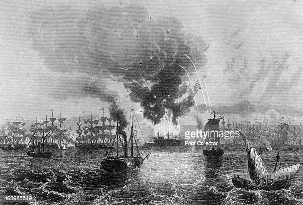 Bombardment of St Jean D'Acre by Admiral Sir Charles Napier 3 November 1840 British Turkish and Austrian ships bombarding Egyptian positions in the...
