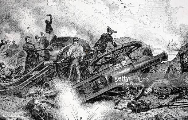 Bombardment of the Danish war ship Christian VIII near Eckernfoerde Germany historical illustration