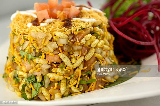Bombay Bhel Crispy Rice puffs and tamarind mint chutney Photo by Lisa Wiltse