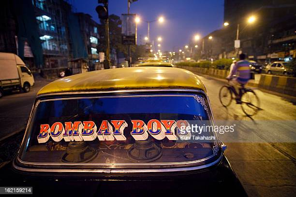 A 'Bombay Boys' sticker is shown on the rear window of Premier Padmini taxi on December 7 2012 in Mumbai India The Padmini manufactured by Premier...