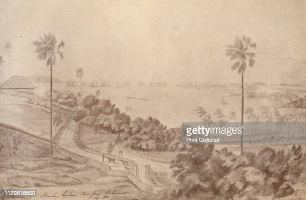 'Bombay Harbour Seen from Belmont' September 1821 View of ships in the harbour at Bombay India From The Civil and Military Gazette Annual 1936 [India...