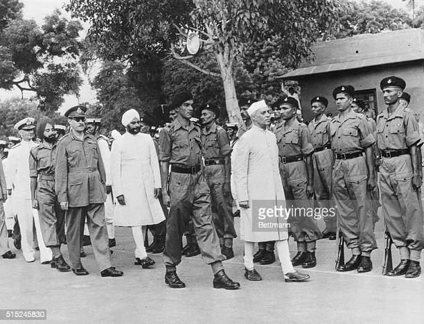 Independence Day Review Indian Prime Minister Pandit Jawaharlal Nehru reviews troops of the Rajputana Rifles Regiment at Independence Day...