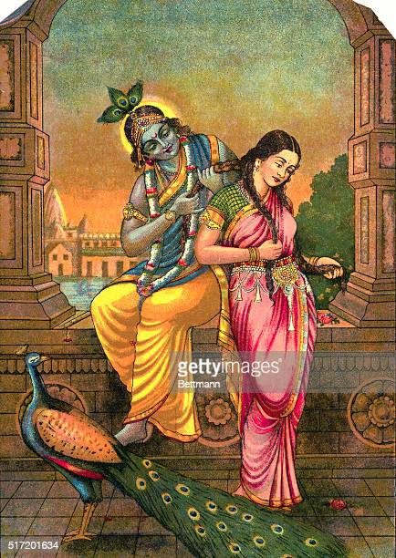 Lord Krishna helping in braiding the hair of Radha his beloved