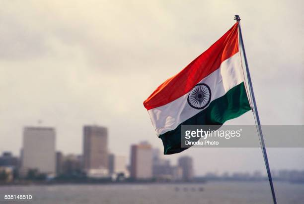bombay skyline in india. - indian flag stock pictures, royalty-free photos & images