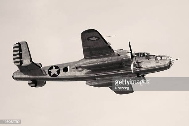 wwii bomber b25 mitchell flying - world war ii stock pictures, royalty-free photos & images