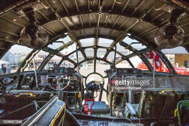 b-29 bomber cockpit - b 29 superfortress stock photos and pictures