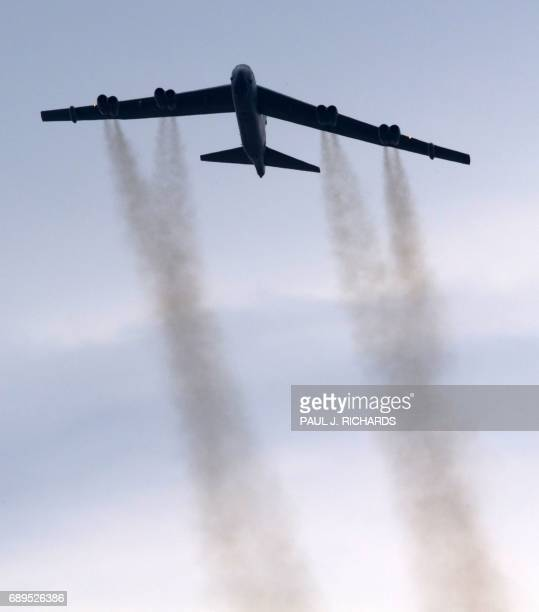 A B52 bomber conducts a ceremonial flyover above the Pentagon May 28 2017 during the 30th Anniversary of Rolling Thunder where approximately 900000...