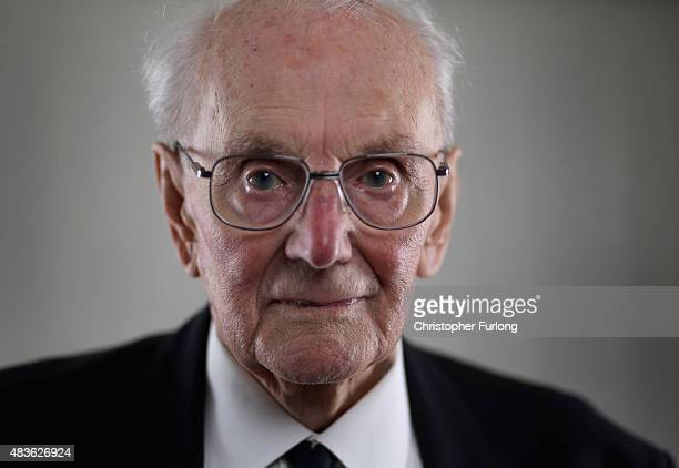 WWII bomber crewman Peter Andrews aged 90 poses at his home on August 7 2015 in Tonbridge England Peter was 21 at the time of VJ Day and had not long...