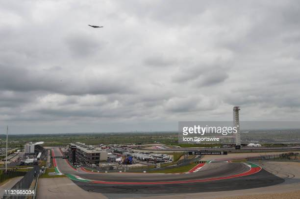 Bomber flies over COTA during the National Anthem during the IndyCar Classic at Circuit of the Americas on March 24 2019 in Austin Texas