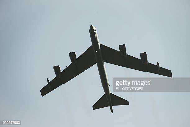 A B52 bomber from North Dakota does a flyby for the Centennial anniversary of the creation of the La Fayette Escadrille at the Escadrille Memorial in...