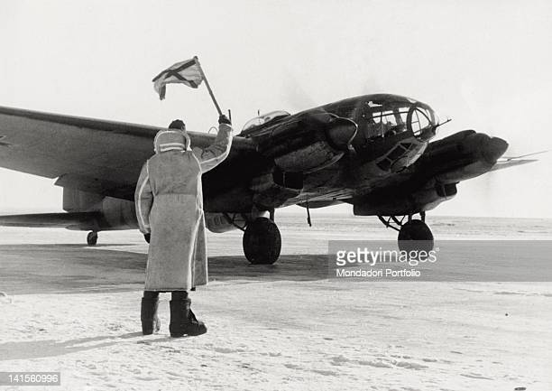 A bomber of the Romanian army being ready to take off from a field in the Odessa area Ukraine February 1943
