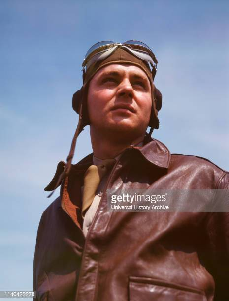 Bomber Pilot Captain in Bombardment Squadron just before Climbing Aboard YN17 Bombing Plane Langley Air Force Base Hampton Virginia USA Alfred T...