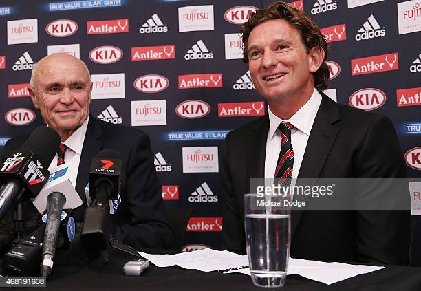 Bombers Chairman Paul Little and head coach James Hird react when speaking to media at Essendon Bombers headquarters after Essendon players were...