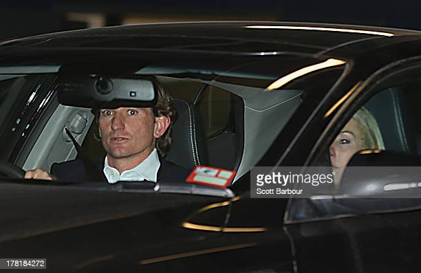 Bombers coach James Hird and his wife Tania Poynton leave after attending the Essendon Bombers AFL Commission Hearing at AFL House on August 27 2013...