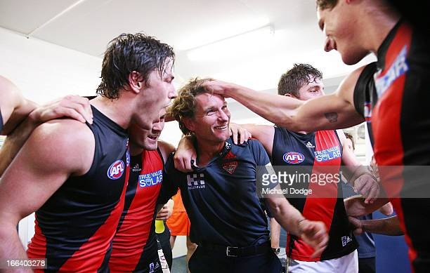 Bombers coach James Hird celebrates the team during the round three AFL match between the Fremantle Dockers and the Essendon Bombers at Patersons...