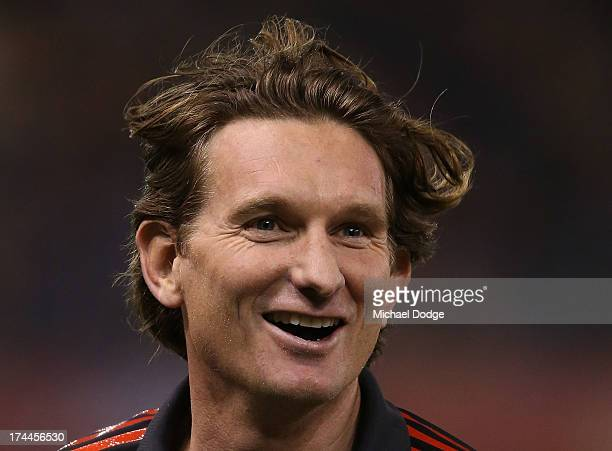 Bombers coach James Hird reacts after the quarter time huddle during the round 18 AFL match between the Essendon Bombers and the Hawthorn Hawks at...