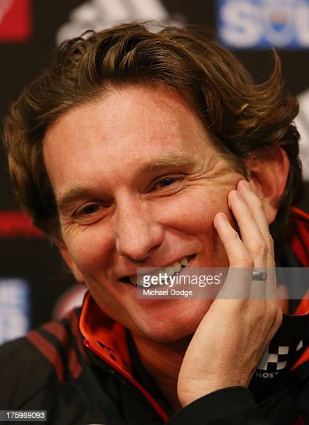 Bombers coach James Hird reacts during his post match interview after the round 20 AFL match between the Essendon Bombers and the West Coast Eagles...