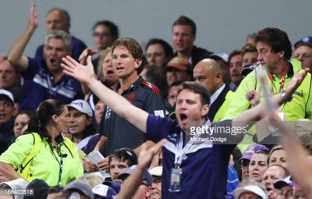 Bombers coach James Hird reacts while watching play during the round three AFL match between the Fremantle Dockers and the Essendon Bombers at...