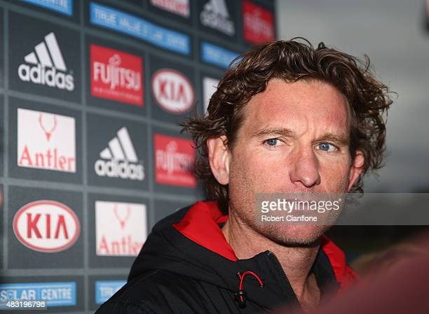 Bombers coach James Hird speaks to the media during a Essendon Bombers training session at the True Value Solar Centre on August 7 2015 in Melbourne...