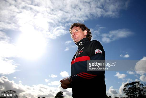 Bombers coach James Hird walks from the ground after an Essendon Bombers AFL training session at True Value Solar Centre on July 16 2015 in Melbourne...