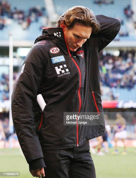 Bombers coach James Hird walks off the ground after their defeat during the round 20 AFL match between the Essendon Bombers and the West Coast Eagles...