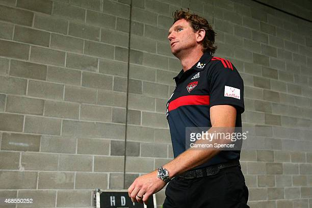 Bombers coach James Hird walks onto the field prior the Round One AFL match between the Sydney Swans and the Essendon Bombers at ANZ Stadium on April...