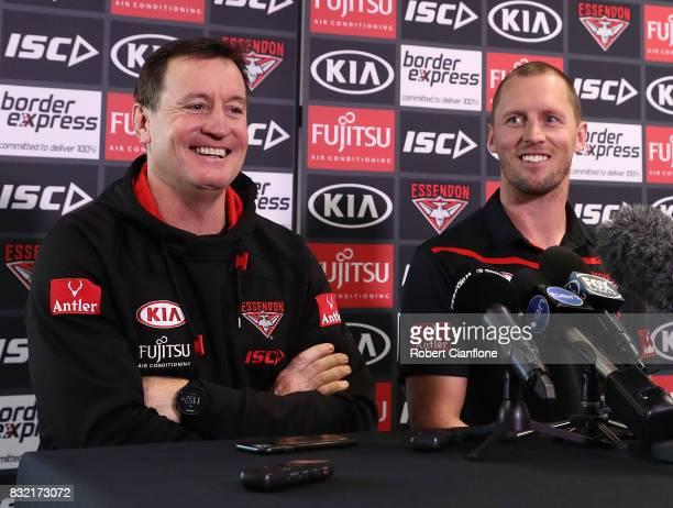 Bombers coach John Worsfold and James Kelly of the Bombers are seen during a press conference to announce the reirement of James Kelly at the...