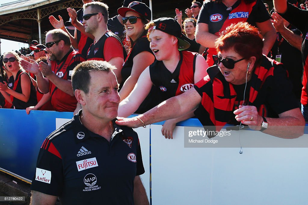 Bombers coach John Worsfold is greeted by fans after their win during the 2016 AFL NAB Challenge match between Carlton and Essendon at Ikon Park on February 28, 2016 in Melbourne, Australia.