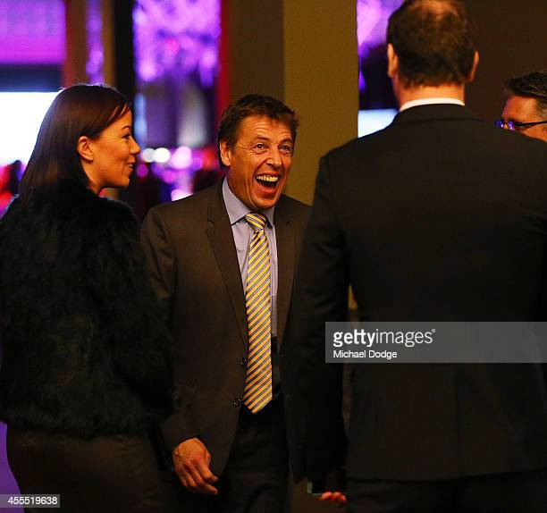 Bombers coach Mark Thompson reacts to Wayne Carey at the All Australian Team Announcement at Royal Exhibition Building on September 16 2014 in...