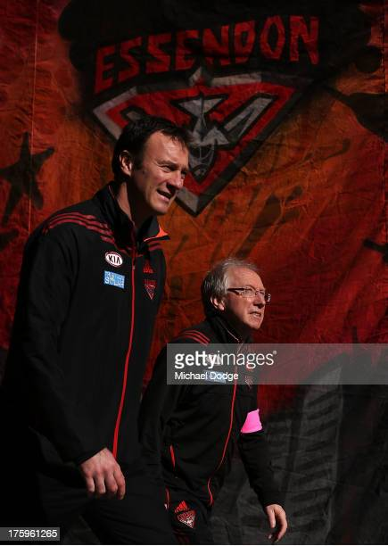 Bombers doctor Bruce Reid walks out for the warm up during the round 20 AFL match between the Essendon Bombers and the West Coast Eagles at Etihad...