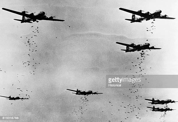 B29 bombers drop hundreds of incendiary bombs on Yokohama Japan during an air raid on May 29 1945 | Location over Yokohama Japan
