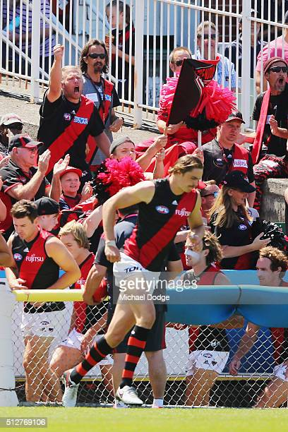 Bombers fans show their support during the 2016 AFL NAB Challenge match between Carlton and Essendon at Ikon Park on February 28 2016 in Melbourne...