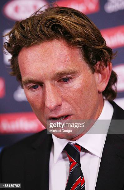 Bombers head coach James Hird gets emotional as he speaks to media at Essendon Bombers headquarters after Essendon players were found not guilty from...