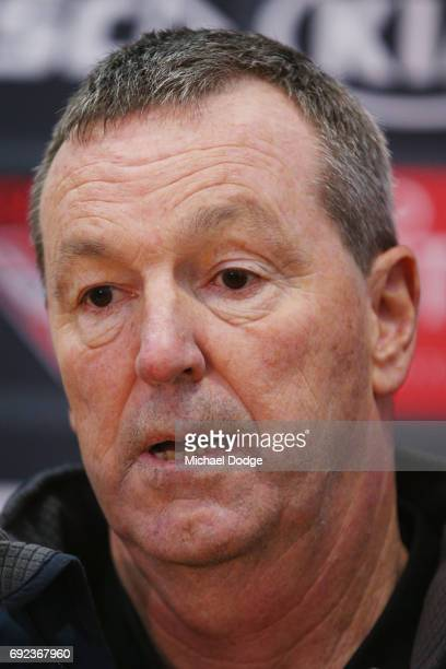 Bombers legend Neale Daniher speaks to media during a cheque presentation to fight MND at the Essendon Football Club on June 5 2017 in Melbourne...