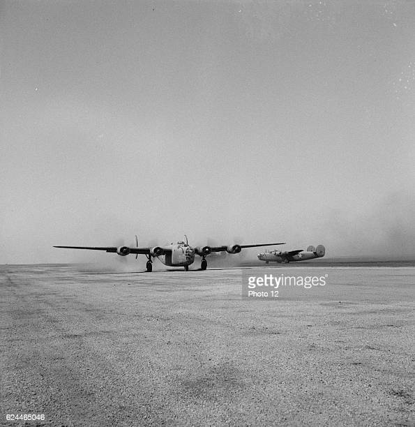 B24 bombers of the US Army 9th Air Force at their base somewhere in Libya in 1943 World War Two