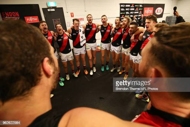 Bombers players celebrate during the round 10 AFL match between the Greater Western Sydney Giants and the Essendon Bombers at Spotless Stadium on May...