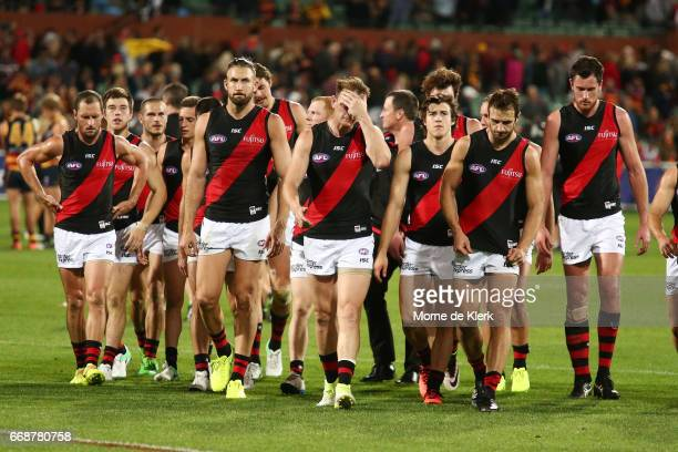 Bombers players come from the field after losing the round four AFL match between the Adelaide Crows and the Essendon Bombers at Adelaide Oval on...