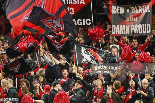Bombers supporters in the crowd show their support during the round 18 AFL match between the Essendon Bombers and the Fremantle Dockers at Etihad...