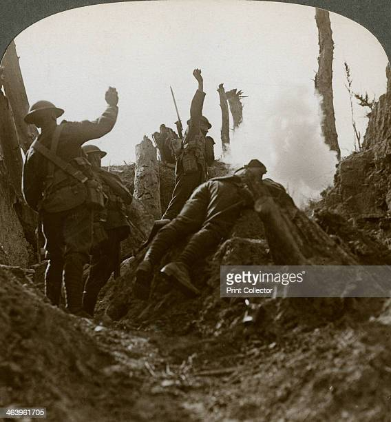 Bombing a German machine gun position, Polygon Wood, Belgium, World War I, 1917. Soldiers from a British regiment from the North of England throwing...