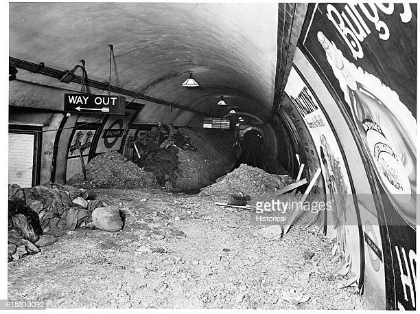Bombing debris fills Balham Station in the London Underground London was bombed extensively by the Germans during the Battle of Britain in...