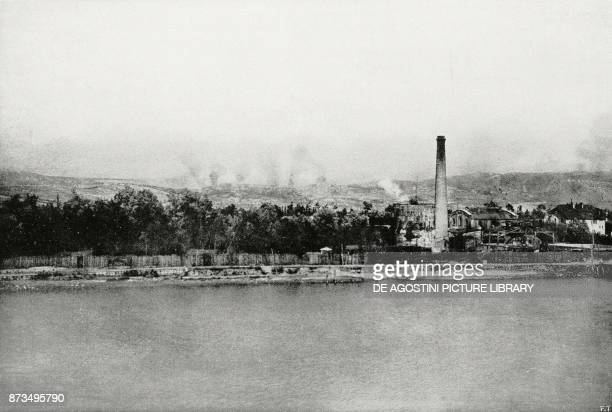 Bombing of Mount Ermada seen from Monfalcone Italy XI Battle of the Isonzo World War I from L'Illustrazione Italiana Year XLIV No 35 September 2 1917