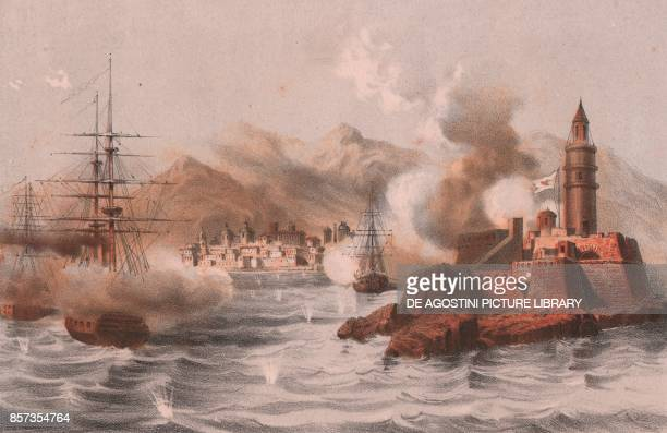 Bombing of Palermo with ships in the foreground Sicily Expedition of the Thousand lithograph by Carlo Perrin from the drawing by Carlo Bossoli 22x15...