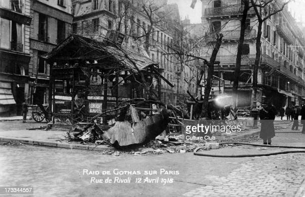 Bombing of Paris 12 April 1918 During WW1 Showing Rue de Rivoli after a raid by German Gotha bombers heavy boming aircraft used by the...