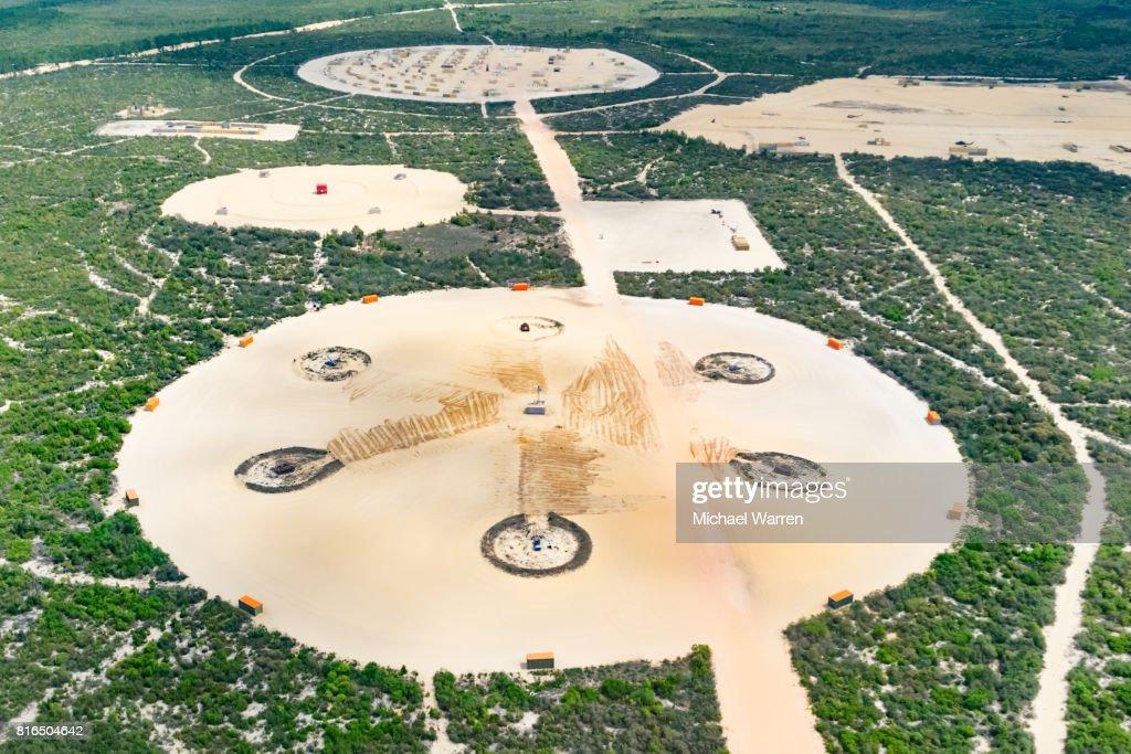 Bombing Range with Missile Sites : Stock Photo