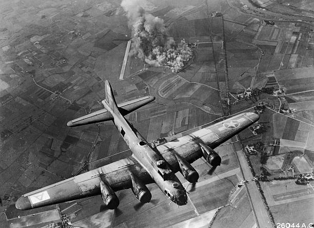 View of the American B-17G bomber 'Vigin's Delight'...