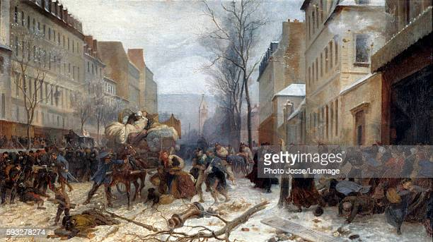Bombing' scene in Paris by the Prussian armies on January 1871 War of 18701871 the siege of Paris by the Prussian army Painting by Henri Felix...