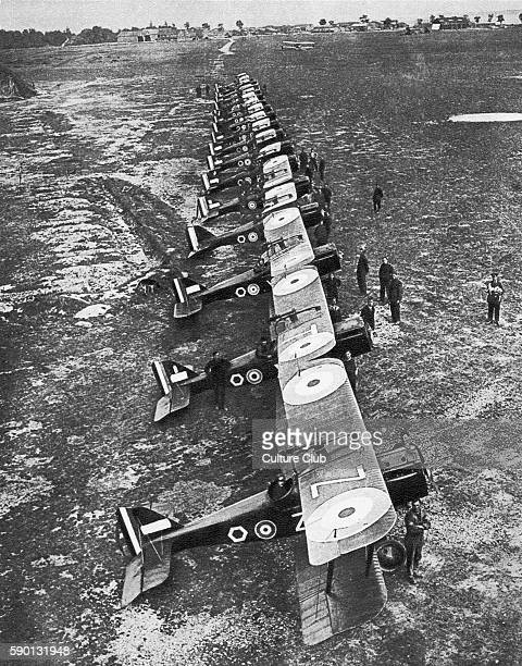 Bombing squadron - fleet of military planes lined up at St Omer, France during the First World War, 1918
