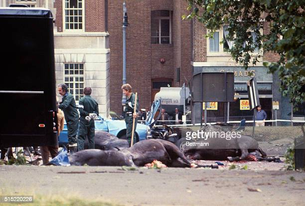 Bombings The carcasses of the horses of the Household Cavalry lie in the road in Hyde Park as the clearing up begins after IRA car bomb exploded