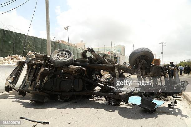 Bomb-laden vehicle is seen after the bomb attack over the United Nations, African Union Mission in Somalia headquarters in Mogadishu, Somalia on July...